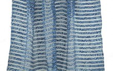 Indigo-dyed, block printed silk from India