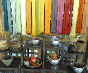 Natural dyes for silk are used to produce the range of colors used for weaving at the Living Crafts Centre.