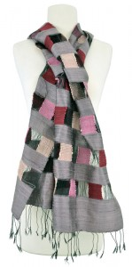Hand-woven silk Traveling Block scarf, designed by Miss Noot of the Living Crafts Centre, Laos.