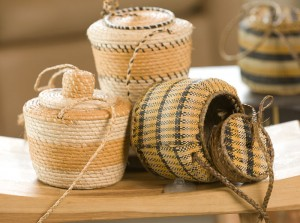 Raffia is used in making coiled baskets (on the left) and woven ones (on the right).