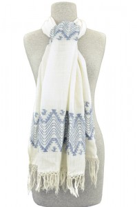 Guatemalan sheer white scarf with zigzag brocade pattern.