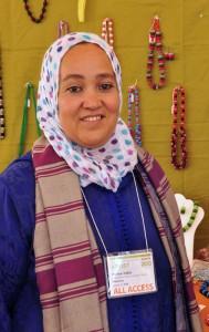 Moroccan artist Amina Yabis at the Santa Fe Folk Art Market 2013.