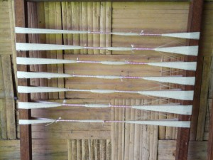 Weft tied and ready for dyeing