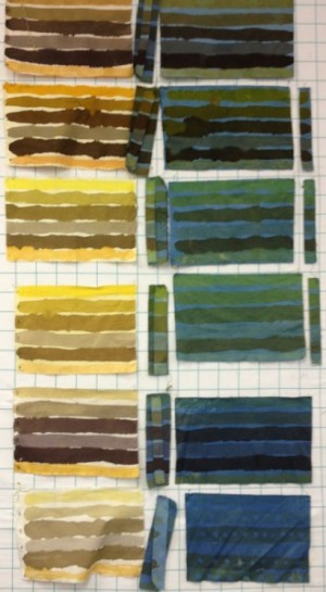 Naturally dyed samples, yellow and greens, top to bottom: pomegranate, marigold, weld, osage, and myrobalan with various mordants and indigo.