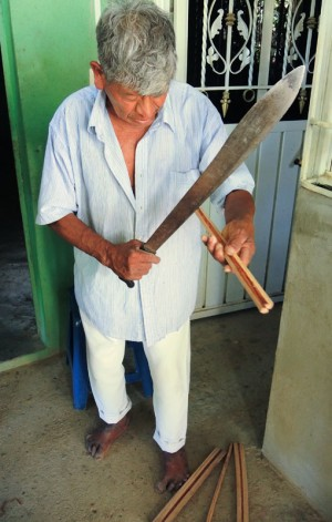 The machete is used through the entire hand spindle making process.