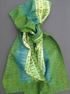 "The finished ""green"" shibori scarf."
