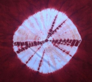 Madder-dyed, shibori spider design (kumo) on rayon by Judy Newland.