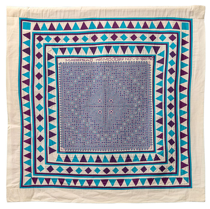 "May Her Thao, Large Aqua Cross Stitch. Cotton, 43"" x 43"", 1985."