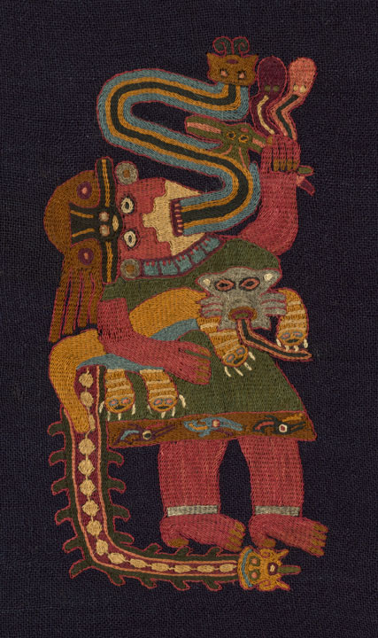Paracas; south coast, Peru; Mantle (Detail), 100 BC/AD 200; Wool (camelid), plain weave; embroidered in stem stitches; corners edged with weft-faced plain weave with extended ground weft fringe and embroidered in cross-knit loop stitches; 238.1 x