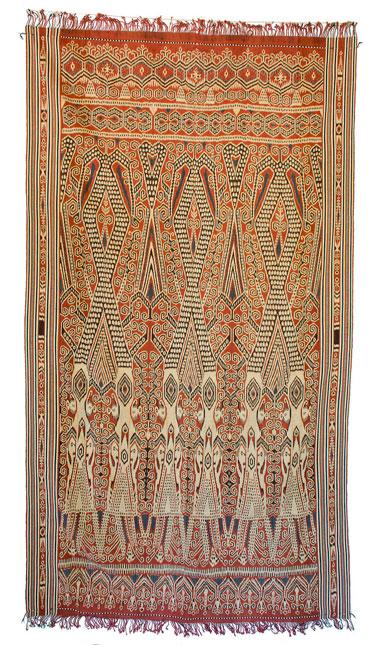 Pua kumbu batang limau senaman Ritual fabric. Malaysia, Sarawak, Rumah Gare; Iban ethnic group; 2016. Cotton, warp ikat.