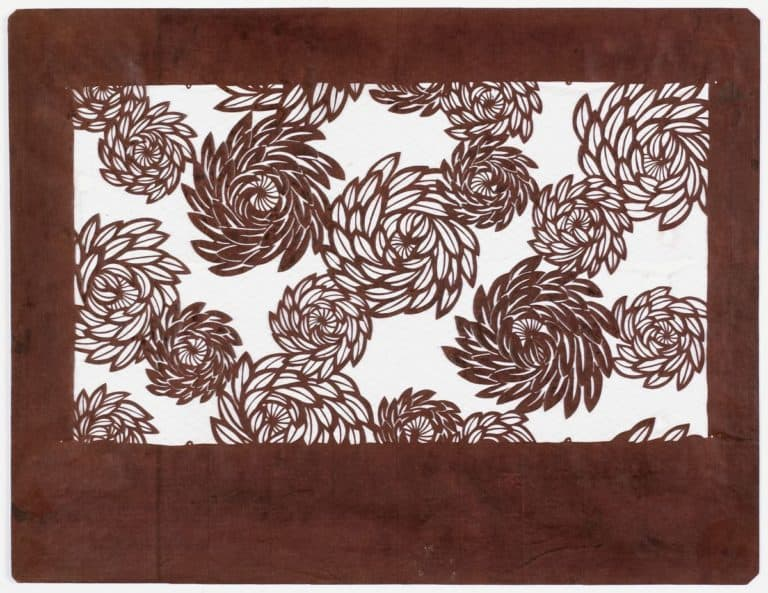 Japanese, Katagami: chrysanthemums, probably Meiji era (1868-1912); mulberry paper treated with persimmon tannin, reinforced with silk thread.
