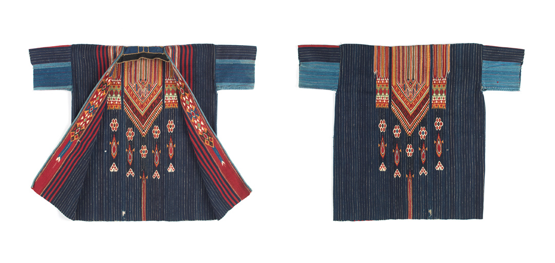 Artists unknown (Bedouin peoples, Damascus, Ottoman Syria); Man's coat (damir), late-19th to early 20th century; wool, cotton, metallic thread; weft-faced weave, slit tapestry technique, hand sewn. Promised gift of David and Elizabeth Reisbord. (L2017.74.2)